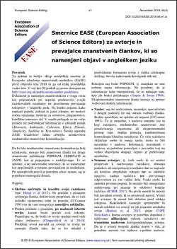 smernice EASE za avtorje in prevajalce znanstvenih člankov