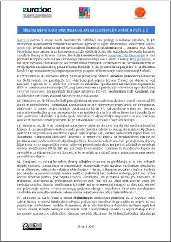 Skupna izjava glede odprtega dostopa za raziskovalce v okviru Načrta S