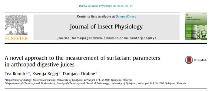Tea Romih Journal of Insect Physiology 2016