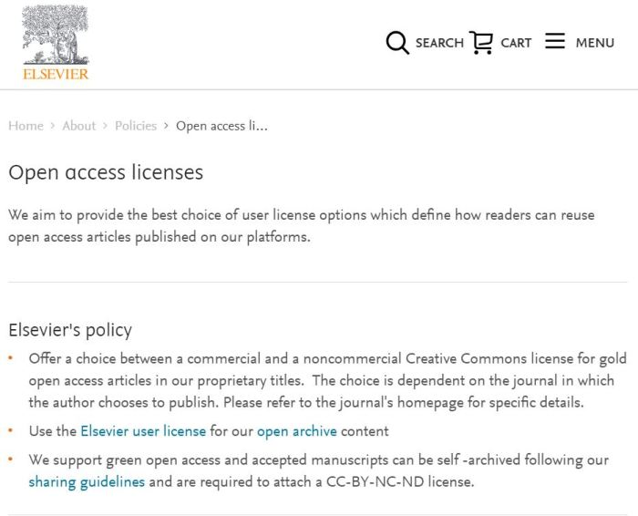 Elsevier odprte licence